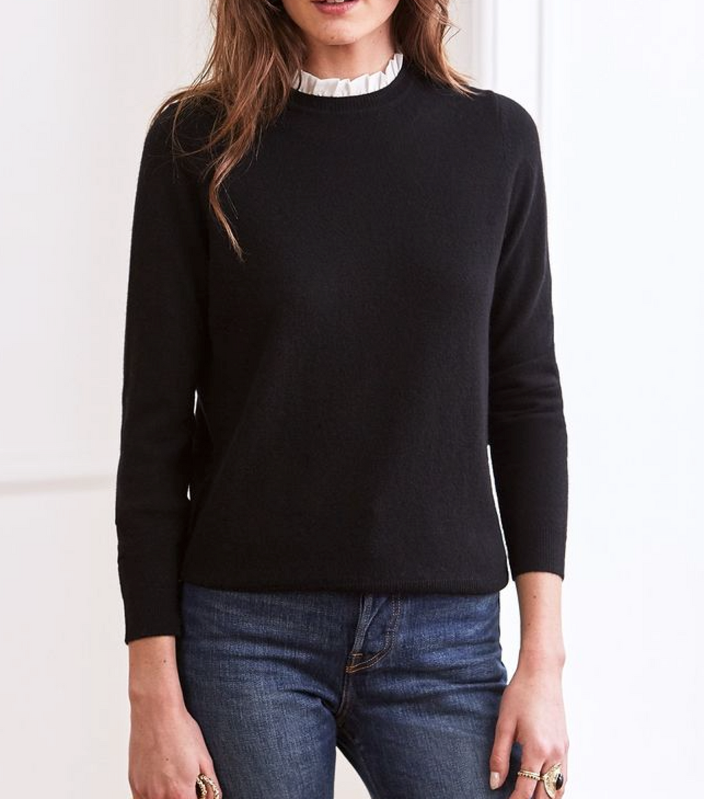 sezane black jumper, wool and cashmere, with white silk collar, teardrop fastening