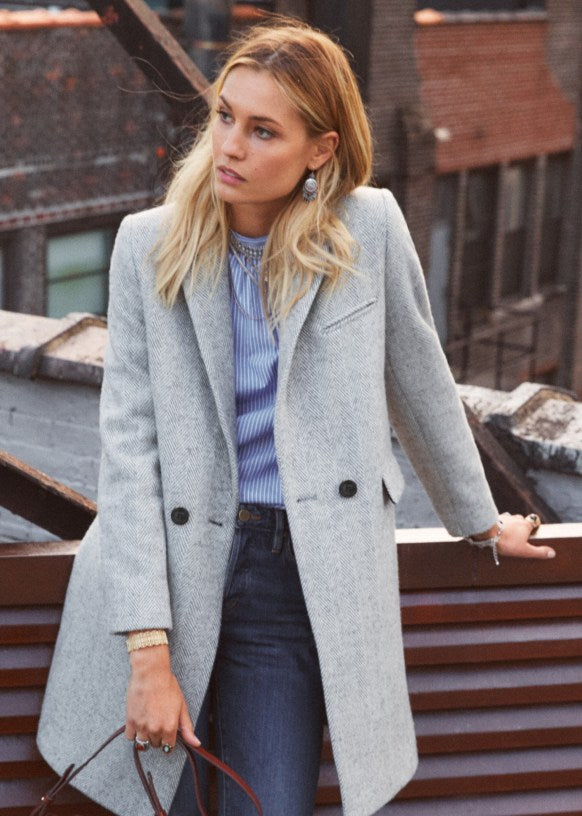 sezane joe coat in grey wool size 36