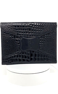 ysl clutch, black patent, embossed, with YSL logo, envelope style.