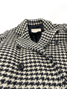 ysl coat, black and white, check pattern with buttons, size Large.