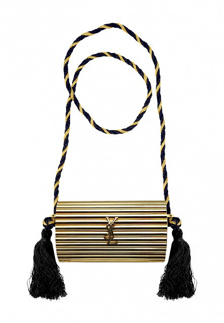 YSL vintage gold metal, black tassel, clutch, opium box