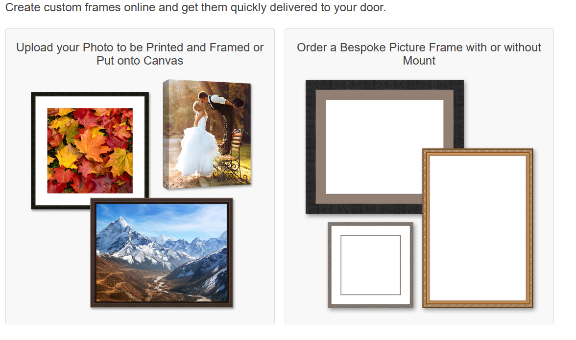Create custom frames online and get them quickly delivered to your door.