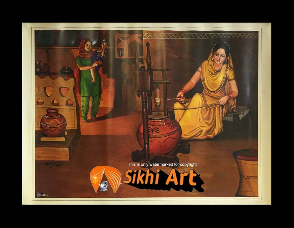 Punjabi Women In Traditional Punjabi Kitchen Spinning Chakkha In Size - 18 X 14