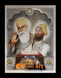 Guru Nanak Dev Ji And Guru Gobind Singh Ji With Guru Granth Sahib Ji Photo Picture Framed - 23 X 18