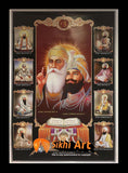 Sikh Gurus Picture Frame In Size - 36 X 25
