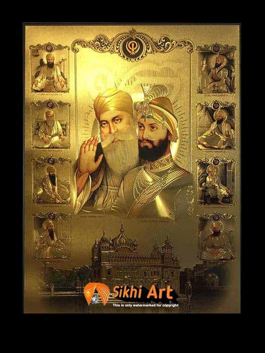 Guru Nanak Dev Ji And Guru Gobind Singh Ji And 10 Sikh Gurus In Golden Temple In Size - 16 X 12