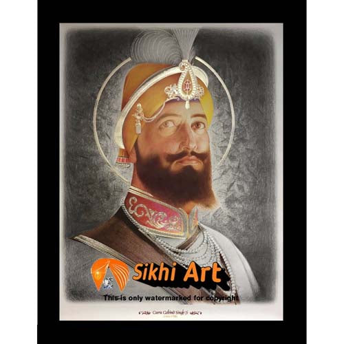 Guru Gobind Singh Ji Original Print Photo Picture Framed - 23 X 18
