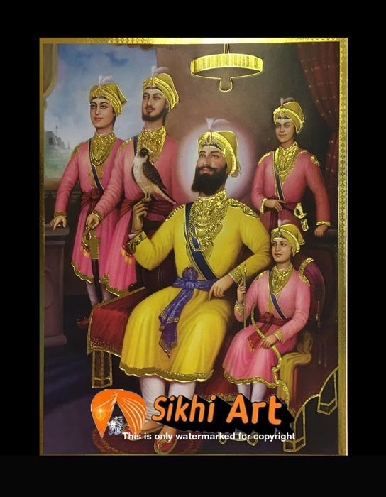 Guru Gobind Singh Ji With Family Picture Frame 2 In Size - 12 X 9