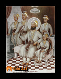Chaar Sahibzaade with Guru Gobind Singh ji Photo Picture Framed - 16 X 12