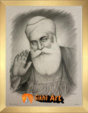 "Guru Nanak Dev Ji Black and White picture frame 13.5"" x 11"""