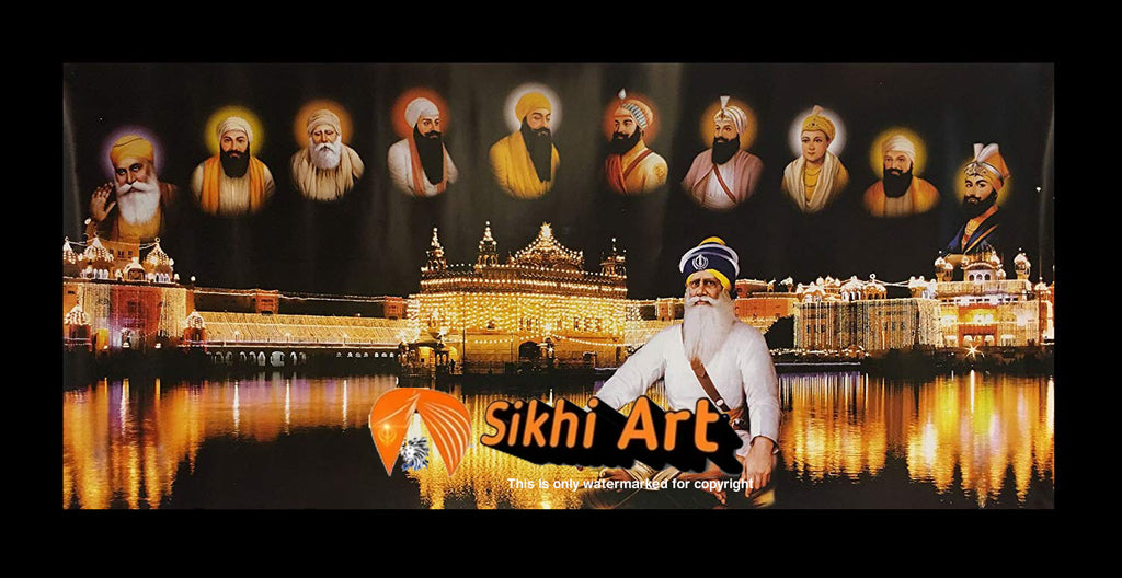 Harmandir Sahib Golden Temple Amritsar Punjab Darbar Sahib With Ten Sikh Gurus Photo Picture Framed - 40 X 20