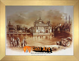 Large Harmandir Sahib Golden Temple Amritsar Punjab India Original Print Photo Picture Framed - 40 X 29