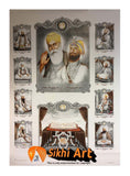 Large Sikh Gurus Of Sikhism Modern Art Print In Size - 40 X 29