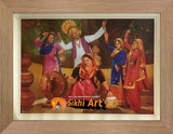 Punjab Art Dance Of Desi People In Village. In Size - 18 X 14