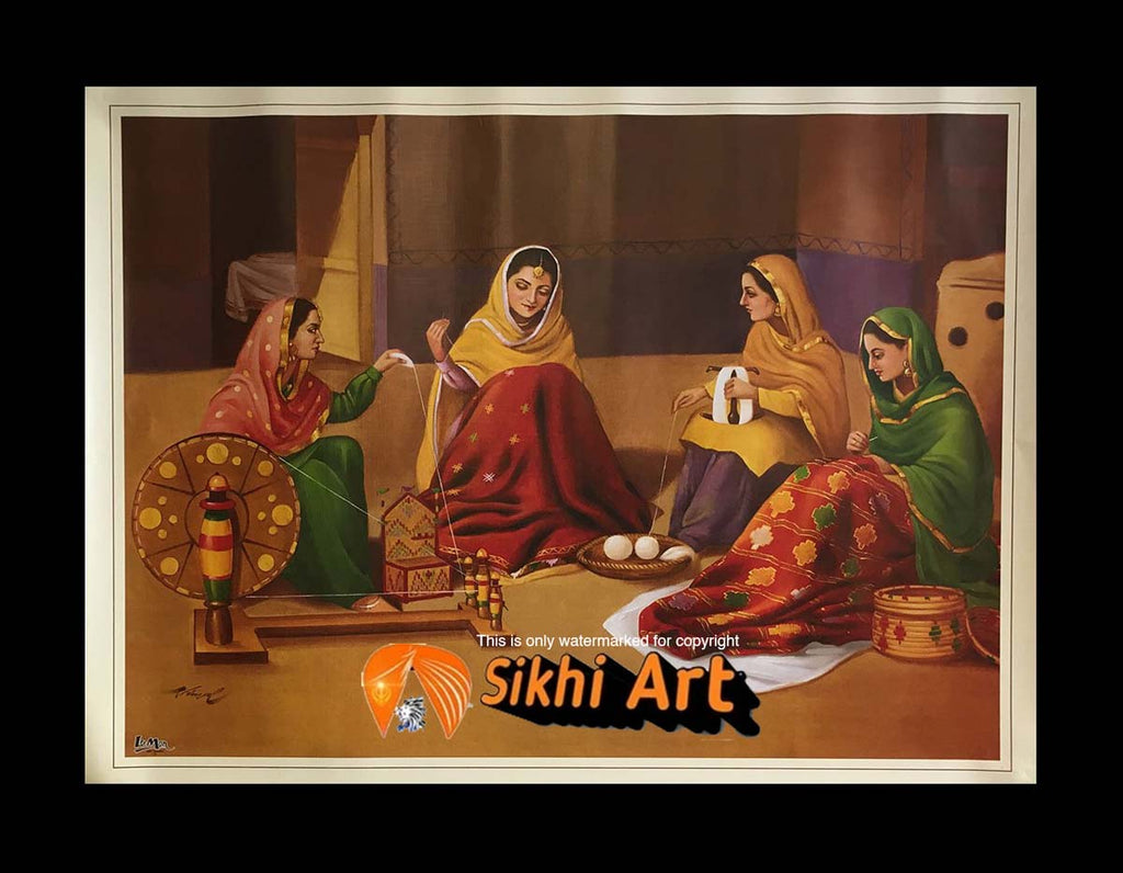 Punjabi Women Weaving Wool In Size - 18 X 14