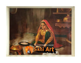 Punjabi Women Making Roti Punjabi Kitchen Punjab India In Size - 18 X 14