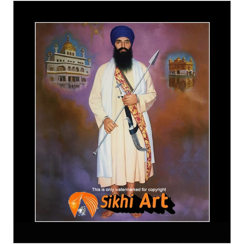 Sant Jarnail Singh Bhindranwale With Golden Temple Picture Frame 36 X 24