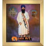 Sant Jarnail Singh Bhindranwale With Golden Temple Picture Frame 24 X 20