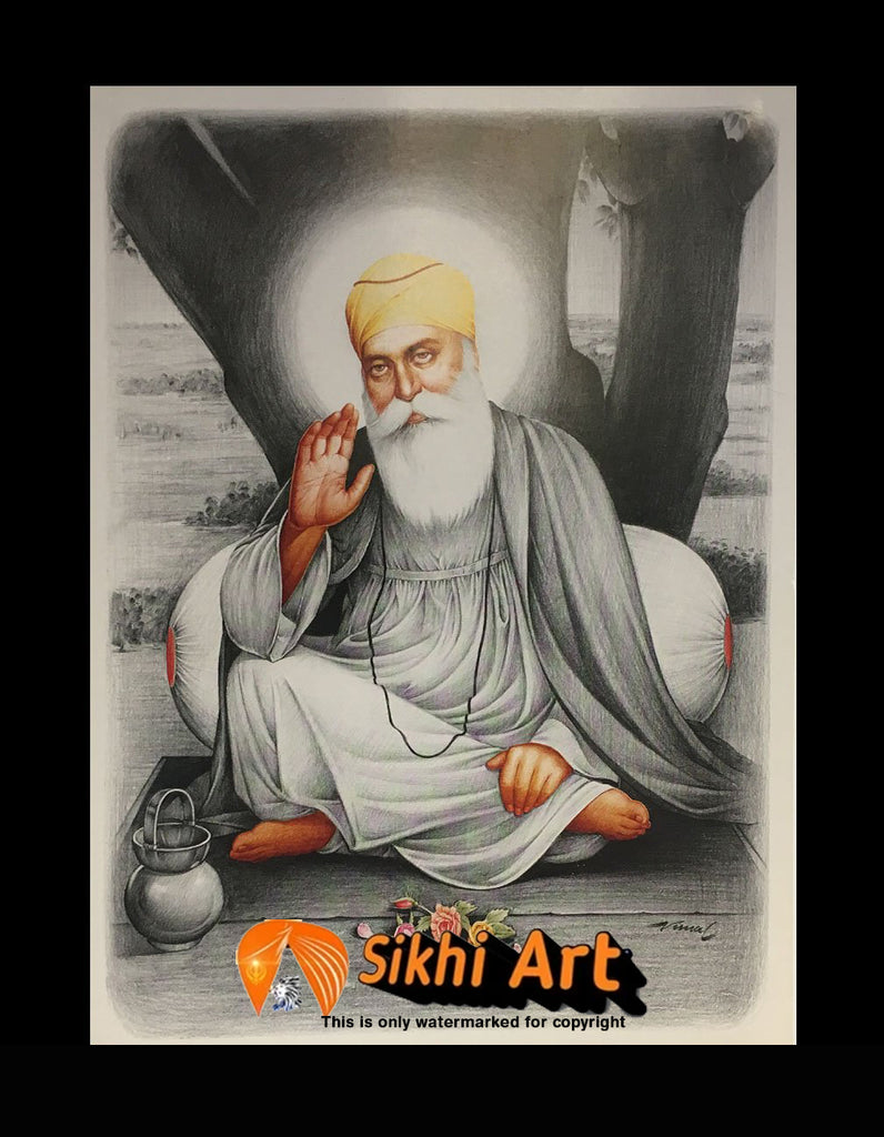 Sikh First Guru Nanak Dev Ji Picture Frame In Size - 12 X 8