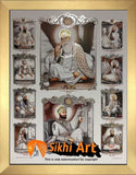 Sikh Gurus Picture Frame In Size - 12 X 9