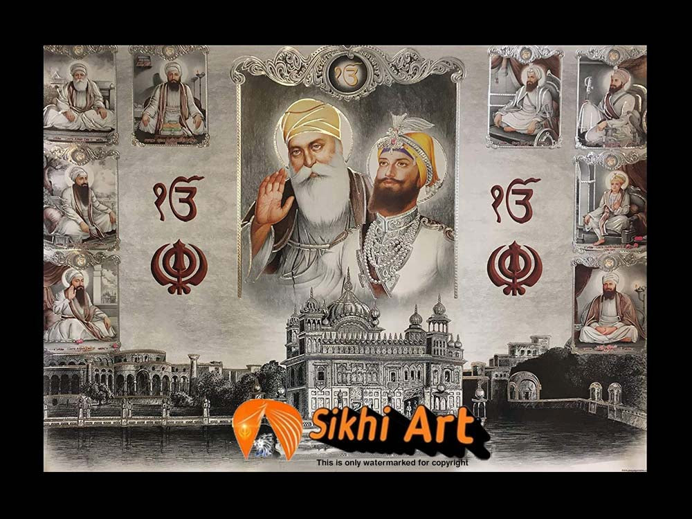 Sikh Gurus With Guru Granth Sahib Ji And Golden Temple In Size - 16 X 12