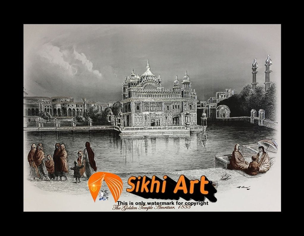 Harmandir Sahib Golden Temple Amritsar Punjab India Photo Picture Framed - 23 X 18