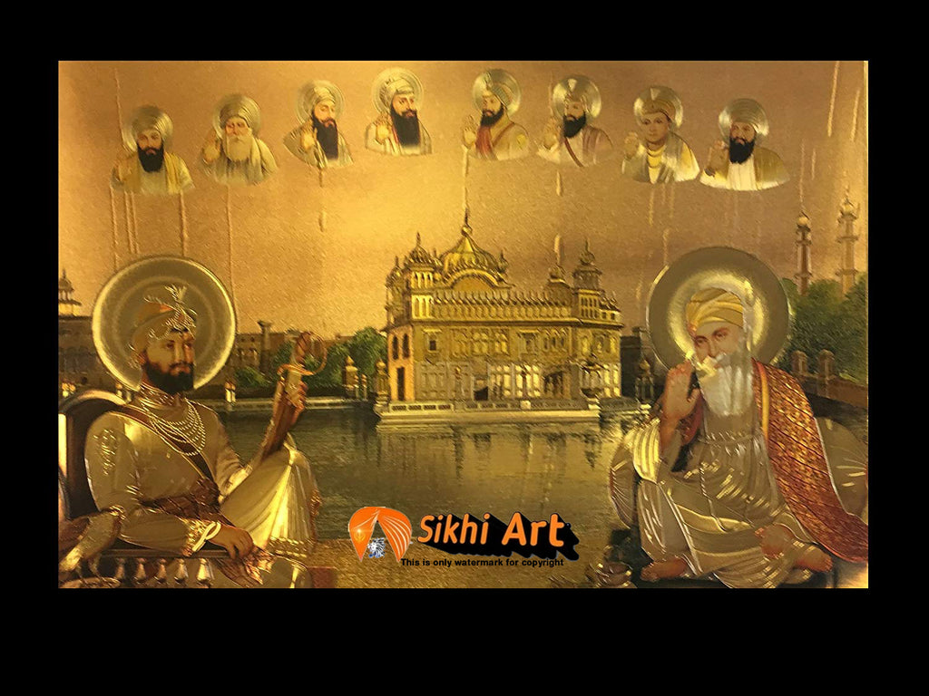 Ten Sikh Gurus In Golden Temple Harmandir Sahib In Size - 16 X 12