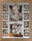 Ten Sikh Gurus With Guru Granth Sahib In Size - 16 X 12