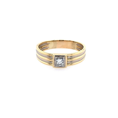antiker-echtschmuck-antike-ringe-Solitaire Bicolor Gold 750 mit Diamant in Princess Cut, 0,7 ct-10789-Prejou
