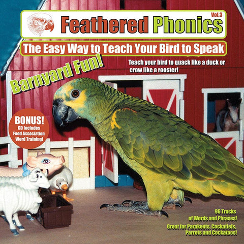Feathered Phonics CD 3: Barn Yard Fun! Teach Your Bird or Parrot to Talk & Speak - Pet Media Plus