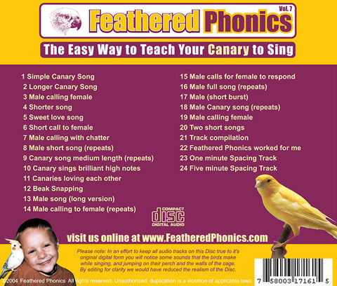Feathered Phonics CD 7: The Easy Way to Teach & Train Your Canary to Sing! - Pet Media Plus