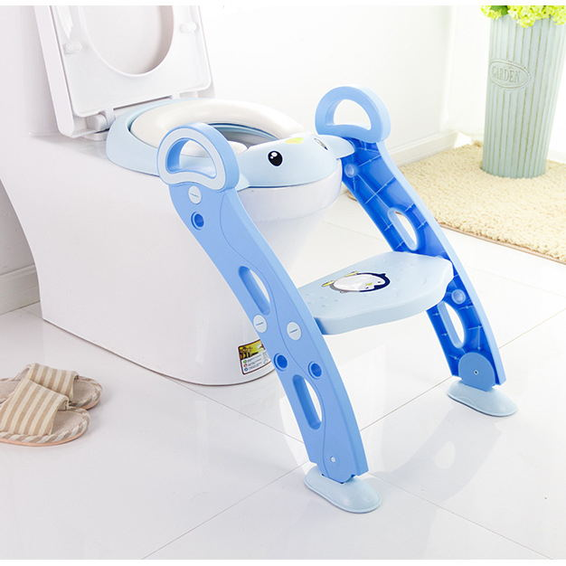 Blue Potty Training Baby Toilet Seat with Step Stool Ladder for Kids-friendly