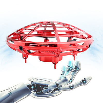Red Mini Hand-Controlled Drone Flying UFO Induction Vehicle Kids Toy