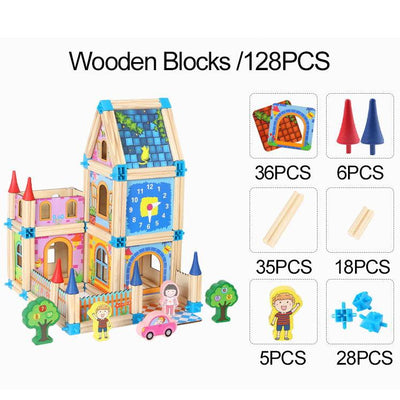 Wooden Blocks Dollhouse Kids Assemble Family Castle Toys - BigBoomidea