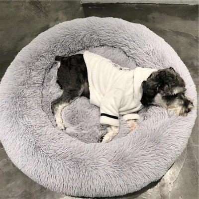 Grey Soft Round Plush Cat Dog Bed