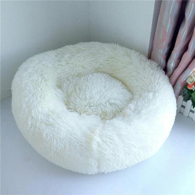 White Soft Round Plush Cat Dog Bed