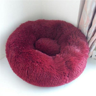 Burgundy Soft Round Plush Cat Dog Bed