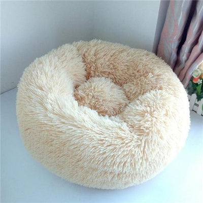 Beige Soft Round Plush Cat Dog Bed