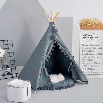 Bohemian Pet Cotton Canvas Tent Cozy Portable Dog Cat Teepee Sleeping Home