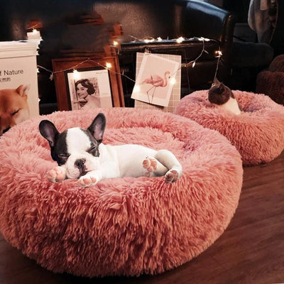 Pink Soft Round Plush Cat Dog Bed