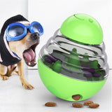 Green Dog Treat Toys Pets IQ Treat-Dispensing Ball Toys Adjustable Leaky Holes
