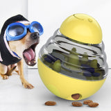 Yellow Dog Treat Toys Pets IQ Treat-Dispensing Ball Toys Adjustable Leaky Holes
