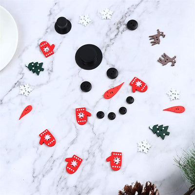 DatingShiny™ Snowman Craft Pendant Wooden Christmas Button Decoration Ornaments