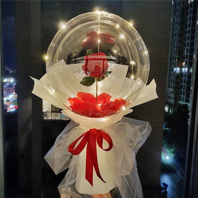 LED Luminous Balloon Rose Bouquet For Valentine's Day