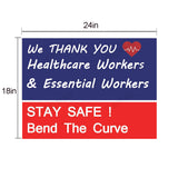 2 PackThank You Stay Health Care, First Responders, Essential Workers, Garden Sign, 24inch x 18 inch