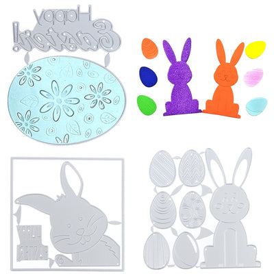 XJIVASE™ Rabbit Easter Bunny Metal 3 Set Cutting Dies Stencil Mould