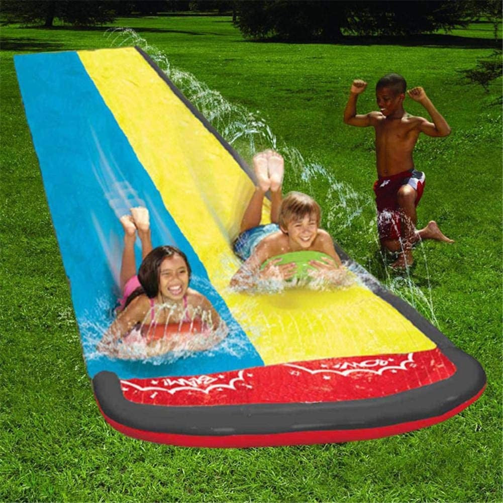 Dual Racing Water Slide Lawn Slip and Slide Sprinkler Pool For Kids