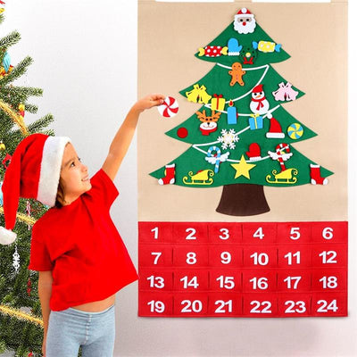 Kids DIY Felt Christmas Tree Countdown Advent Calendar 1-24