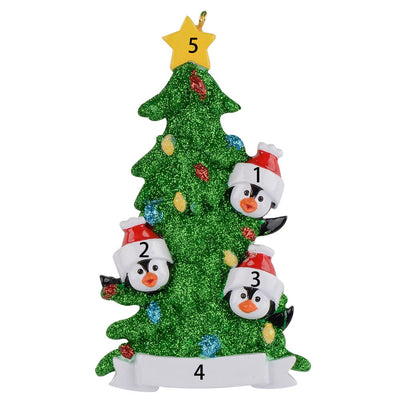 Personalized Penguin Family Christmas Ornaments