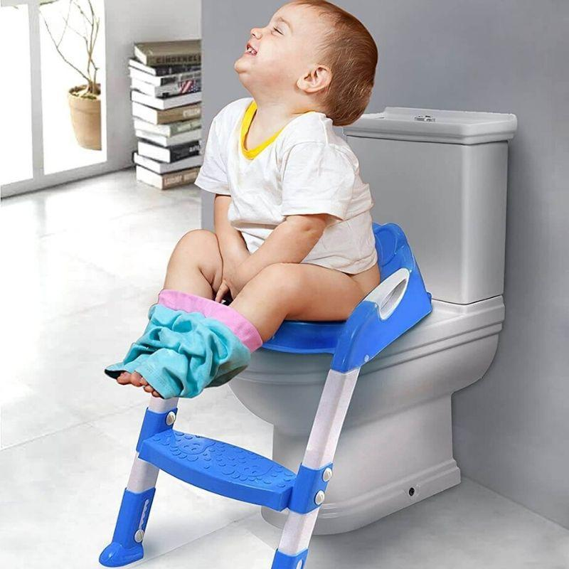 Kids Blue Potty Training Seat With Ladder
